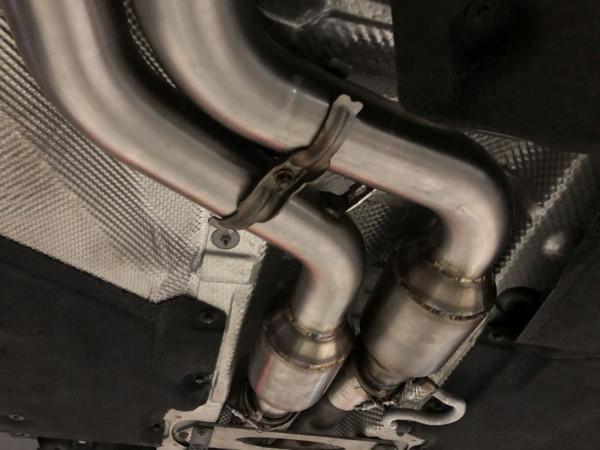 2x70mm Downpipe mit 200 Zellen HJS Sport-Kat. Edelstahl